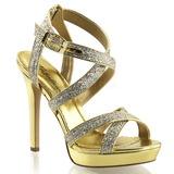 Zlato Třpyt 12 cm LUMINA-21 Večerní Sandály s podpatkem