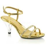 Zlato Třpyt 8 cm BELLE-316 sandály vysoký podpatek