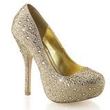 Zlato Třpytivé Kamínky 13,5 cm FELICITY-20 dámské boty na podpatku