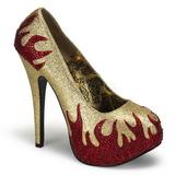 Zlato Třpytivé Kamínky 14,5 cm Burlesque TEEZE-27 dámské boty na podpatku
