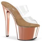 Zlato chrom 18 cm SKY-302 pantofle na podpatku a platformě