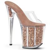 Zlato glitter 20 cm FLAMINGO-801G pantofle na podpatku a platformě