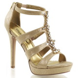 Zlato kamínky 12 cm LUMINA-47 Večerní Sandály s podpatkem