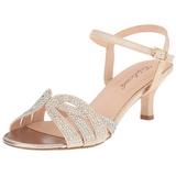 Zlato kamínky 6,5 cm AUDREY-03 Večerní Sandály s podpatkem