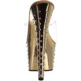 Zlato kamínky Platform 18 cm STARDUST-701 Pantofle Vysoké Podpatky