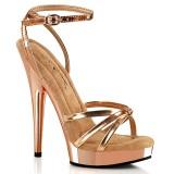 Zlato růžový platformě 15 cm SULTRY-638 vegan sandály na vysokém podpatku