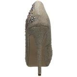 Zlato štrasovými kamínky 13 cm DESTINY-06R Platformě Lodičky Dámské