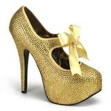Zlato štrasovými kamínky 14,5 cm Burlesque TEEZE-04R Platformě Lodičky Dámské