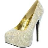 Zlato štrasovými kamínky 14,5 cm Burlesque TEEZE-06R Platformě Lodičky Dámské
