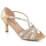 Zlato třpyt 6,5 cm Fabulicious MISSY-03 dámské sandály na podpatku