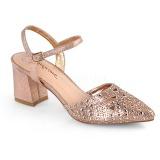 Zlato třpyt 7 cm Fabulicious FAYE-06 dámské sandály na podpatku
