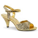 Zlato třpyt 8 cm Fabulicious BELLE-309G dámské sandály na podpatku