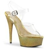 Zlato třpytky 15 cm Pleaser DELIGHT-608HG Boty na podpatku pro tanec na tyči
