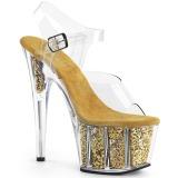 Zlato třpytky 18 cm Pleaser ADORE-708G Boty na podpatku pro tanec na tyči