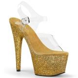 Zlato třpytky 18 cm Pleaser ADORE-708HMG Boty na podpatku pro tanec na tyči