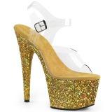 Zlato třpytky 18 cm Pleaser ADORE-708LG Boty na podpatku pro tanec na tyči