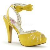 Žlutá 11,5 cm Pinup retro vintage BETTIE-01 dámské sandály na podpatku