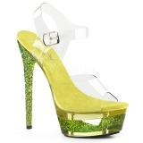 Žlutá 16,5 cm ECLIPSE-608GT sandály s jehlovým podpatkem