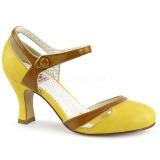 Žlutá 7,5 cm retro vintage FLAPPER-27 Pinup lodičky boty s nízkým podpatkem