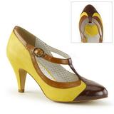 Žlutá 8 cm retro vintage PEACH-03 Pinup lodičky boty s nízkým podpatkem