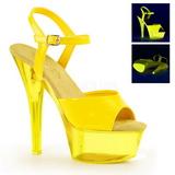 Žlutá Neon 15 cm Pleaser KISS-209UVT Platformě Vysoké Podpatky