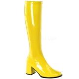 Žlutý Lakované 8,5 cm GOGO-300 Dámské Kozačky pro Muže