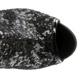 Černá Flitry 15 cm PLEASER BLONDIE-R-3011 Kozačky Nad Kolena Platformě