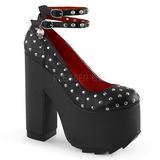 Černá Koženka 16 cm CRAMPS-06 Gotické Lodičky Boty