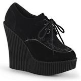 Černá Koženka CREEPER-302 klínové creepers boty platformě