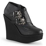 Černá Koženka CREEPER-306 klínové creepers boty platformě