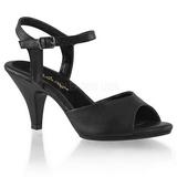 Černá Matná 8 cm BELLE-309 sandály vysoký podpatek