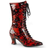 Černá Červený 7 cm VICTORIAN-120BL Bílé Dámské Kozačky s Tkaničkami