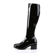 Černé lakované kozačky blokový podpatek 5 cm - 70 léta hippie disco gogo - kozačky pod kolena