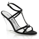 Černý 10,5 cm LOVELY-428 Klínové Sandály Podpatky