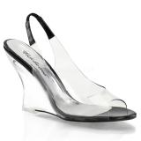 Černý 10,5 cm LOVELY-450 Klínové Sandály Podpatky