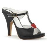 Černý 10 cm SIREN-09 Pantofle Vysoké Podpatky