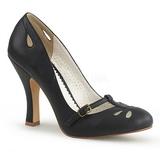 Černý 10 cm SMITTEN-20 Pinup lodičky boty s nízkým podpatkem