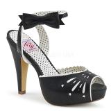 Černý 11,5 cm Pinup retro vintage BETTIE-01 dámské sandály na podpatku