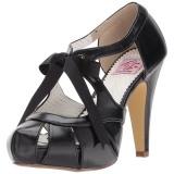 Černý 11,5 cm retro vintage BETTIE-19 dámské boty na vysokém podpatku