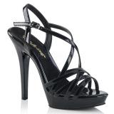 Černý 13 cm Fabulicious LIP-113 sandály na vysokém podpatku
