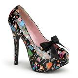 Černý 14,5 cm Burlesque TEEZE-12-4 dámské boty na vysokém podpatku