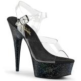 Černý 15 cm Pleaser DELIGHT-608MG třpyt boty na vysokém podpatku
