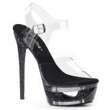 Černý 16,5 cm ECLIPSE-608GT sandály s jehlovým podpatkem