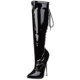 Černý 16 cm DAGGER-2064 dámské kozačky na podpatku
