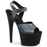 Černý 18 cm ADORE-708N-DT Hologram boty na platformě a podpatku