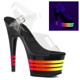 Černý 18 cm ADORE-708UVLN Sandály Neon Platformě