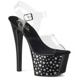 Černý 18 cm Pleaser SKY-308CP-1 Sandály na podpatku pro tanec na tyči