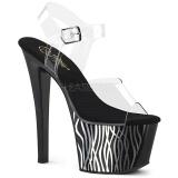 Černý 18 cm Pleaser SKY-308CP-2 Sandály na podpatku pro tanec na tyči