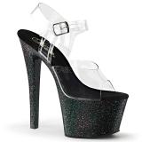Černý 18 cm Pleaser SKY-308MG třpyt boty na vysokém podpatku