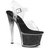 Černý 18 cm SKY-308G-T třpyt sandaly na platformě a podpatku